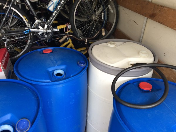 Filling up our water barrels