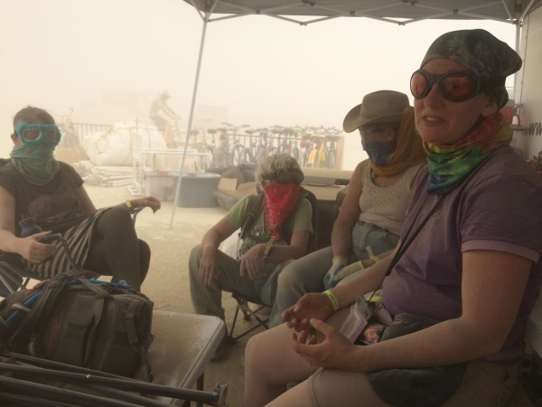 Waiting out a white-out dust storm at Burning Man