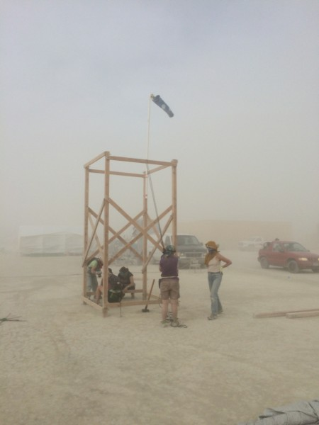Core of the shade structure is erected
