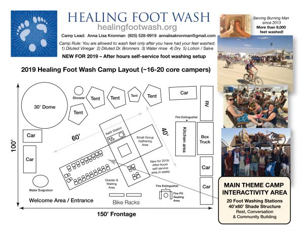2019 Healing Foot Wash Burning Man theme camp plan